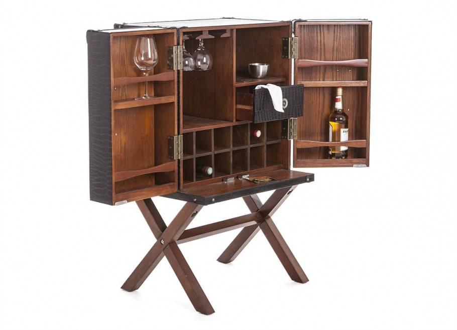 Malle bar sur stand Cap Horn - Petit modèle - Simili cuir croco marron foncé