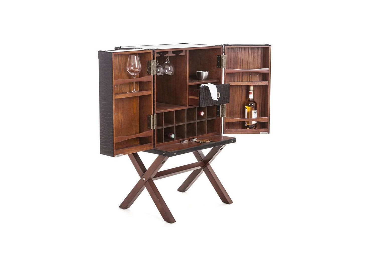 Meuble bar - Malle bar sur stand Cap Horn - Petit modèle - Simili cuir croco marron foncé