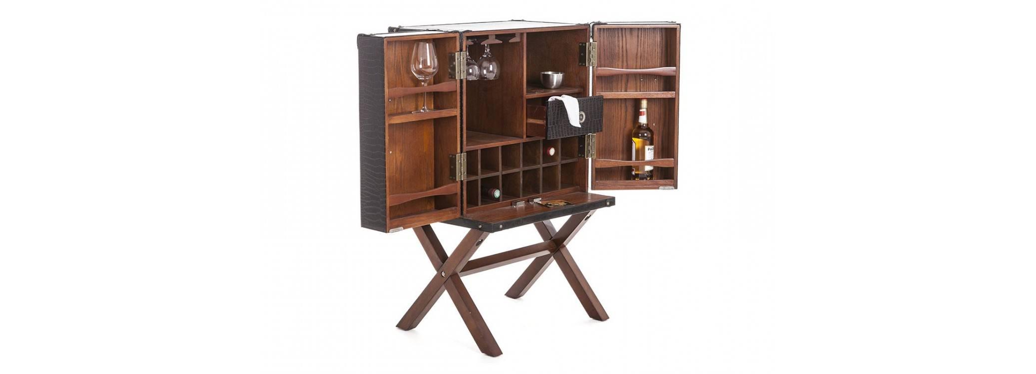 Malle bar sur stand Cap Horn - Petit modèle - Façon croco marron foncé