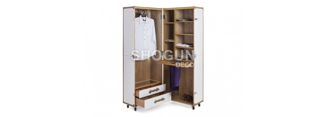 Malle garde robe Cap Horn - Simili cuir croco blanc