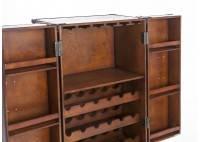 Malle bar sur stand - Petit modèle - Simili cuir croco marron foncé