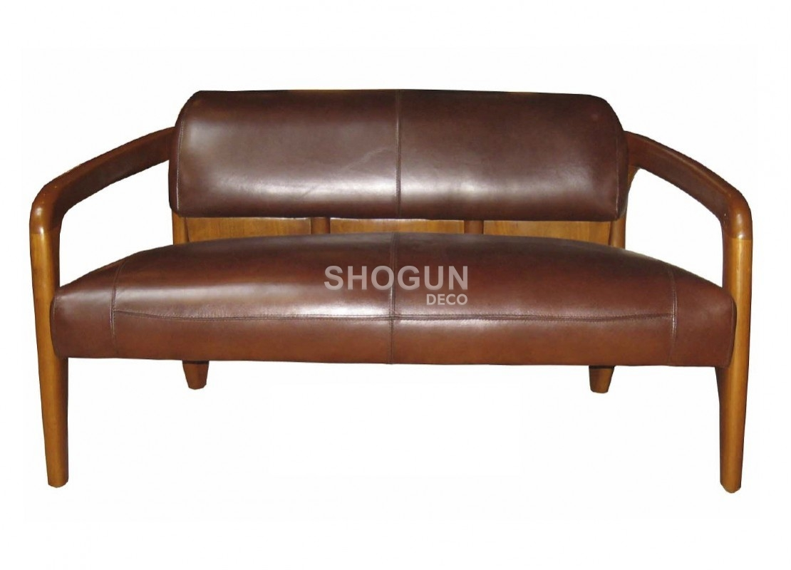 canap daytona style vintage 2 places bois massif et cuir marron. Black Bedroom Furniture Sets. Home Design Ideas