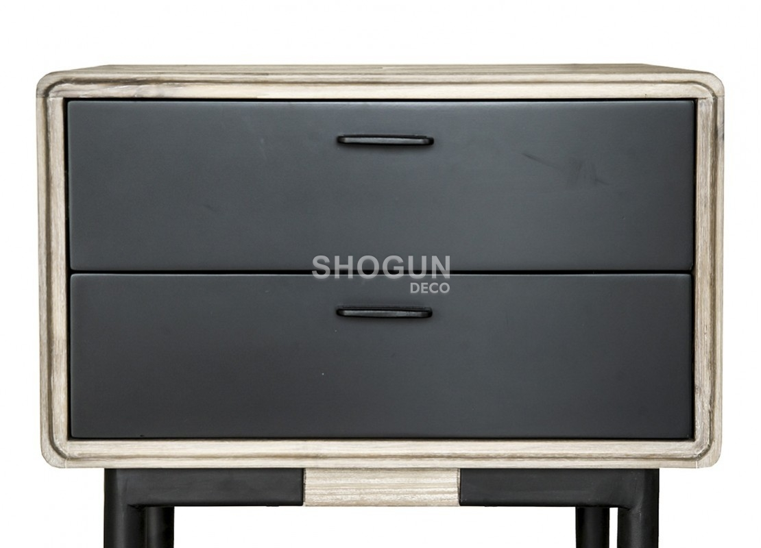 chevet meuble d appoint noir alba 2 tiroirs bois massif acacia. Black Bedroom Furniture Sets. Home Design Ideas