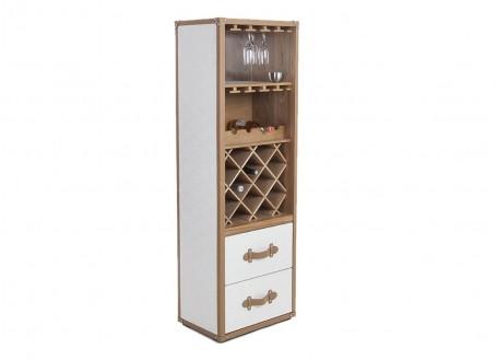 Colonne présentoir vins et liqueurs Cap Horn simili cuir croco blanc
