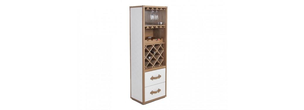 Malle bar / Présentoir à vins et liqueurs Cap Horn - Simili cuir croco blanc