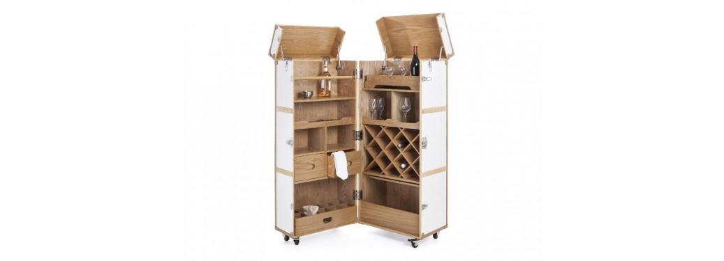 Malle bar Cap Horn - Grand modèle - Façon croco blanc