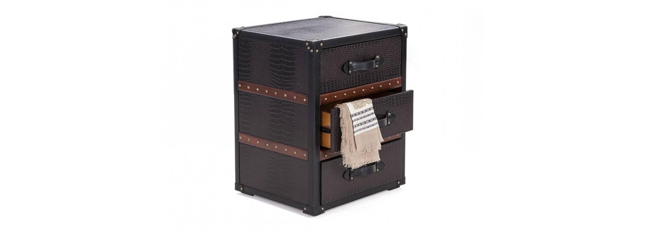 Bout de canapé Cap Horn - 3 tiroirs - Simili cuir croco marron foncé