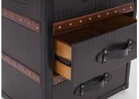 Bout de canapé / table de chevet Cap Horn simili cuir croco marron foncé