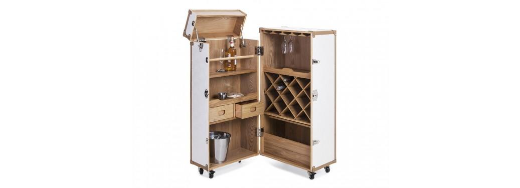 Malle bar Cap Horn - Moyen modèle - Simili cuir croco blanc