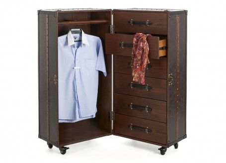 Armoire dressing Cap Horn simili cuir marron moiré