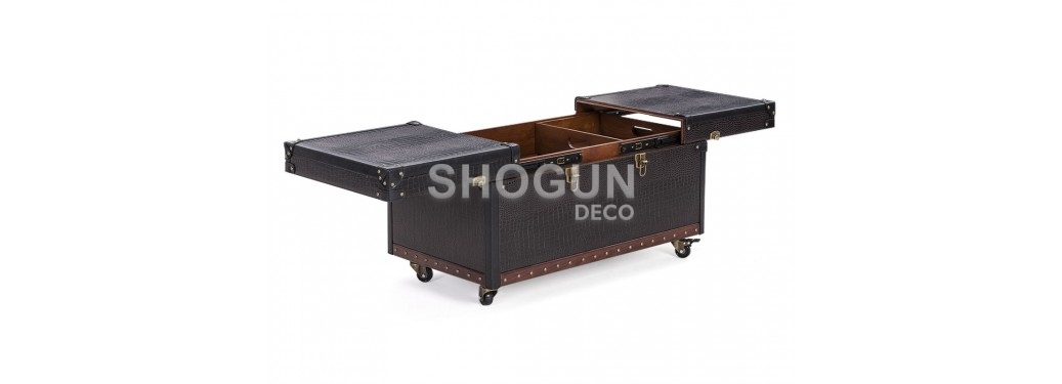 Table basse Cap Horn petit modèle - Marron foncé façon croco