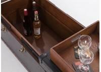 Table basse avec ouverture coulissante Cap Horn simili cuir croco marron foncé