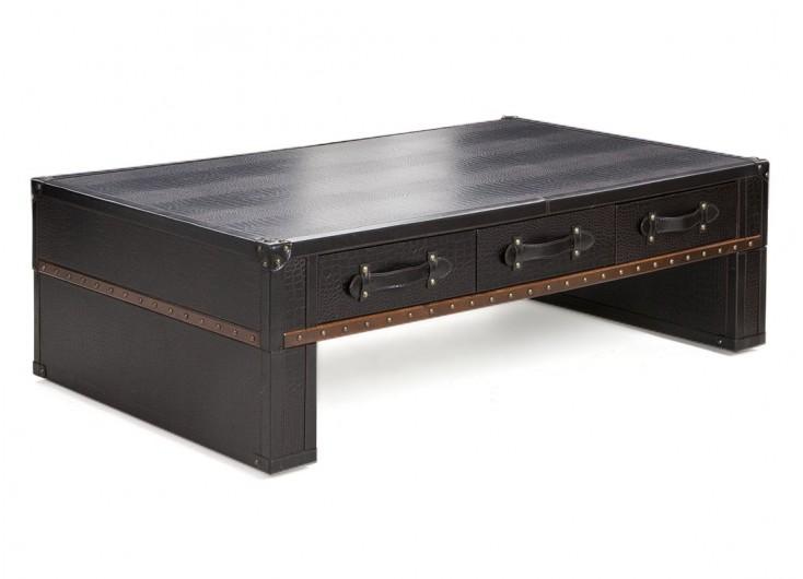 Table basse 6 tiroirs simili cuir croco marron foncé
