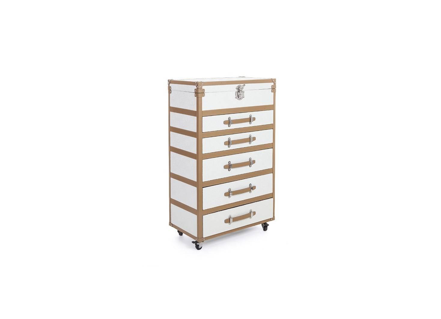 Malle Cap Horn - 5 tiroirs - Simili cuir croco blanc