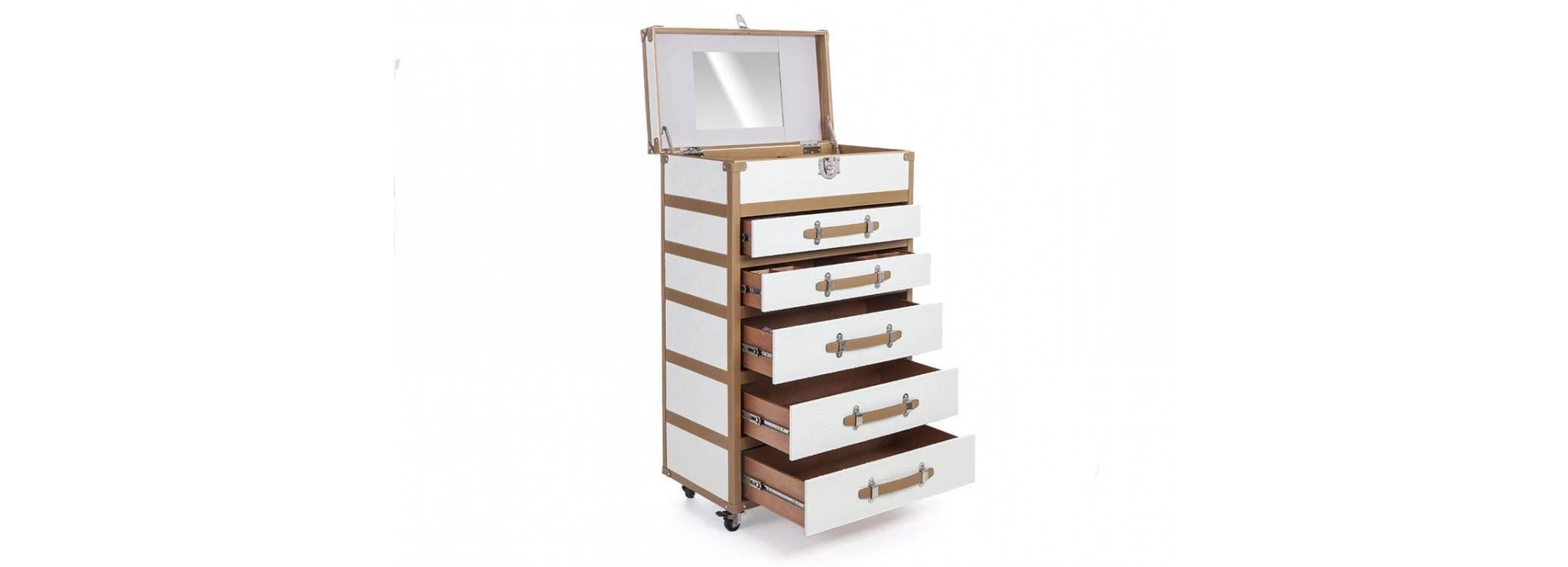 Malle à bijoux Cap Horn - 5 tiroirs - Façon  croco blanc
