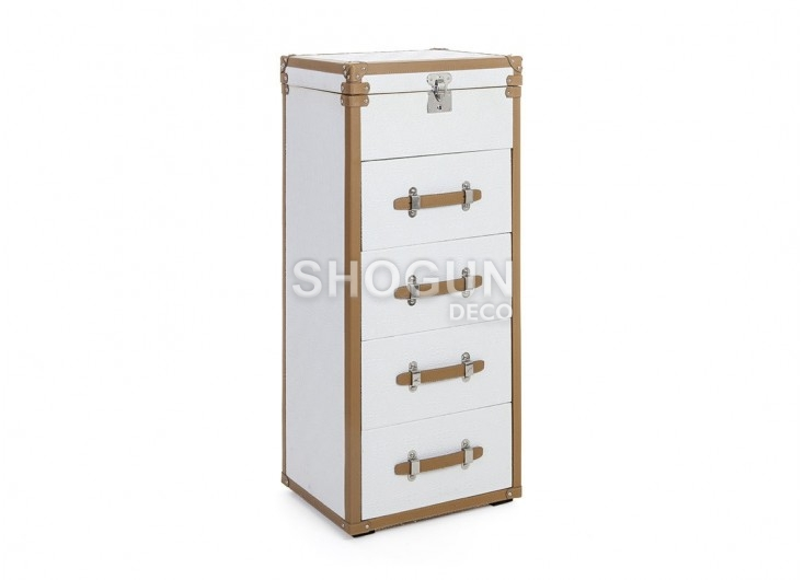 Malle chiffonnier Cap Horn - 4 tiroirs - Simili cuir croco blanc