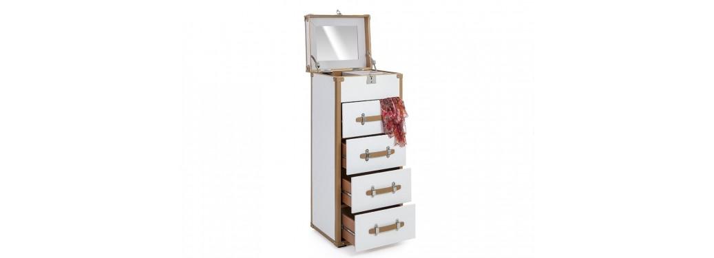 Chiffonnier Cap Horn - 4 tiroirs - Façon croco blanc