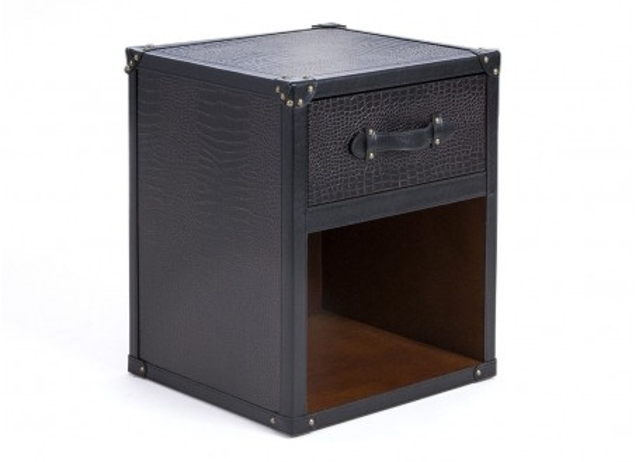 Bedside table Cap Horn - 1 drawer - Dark brown crocodile style