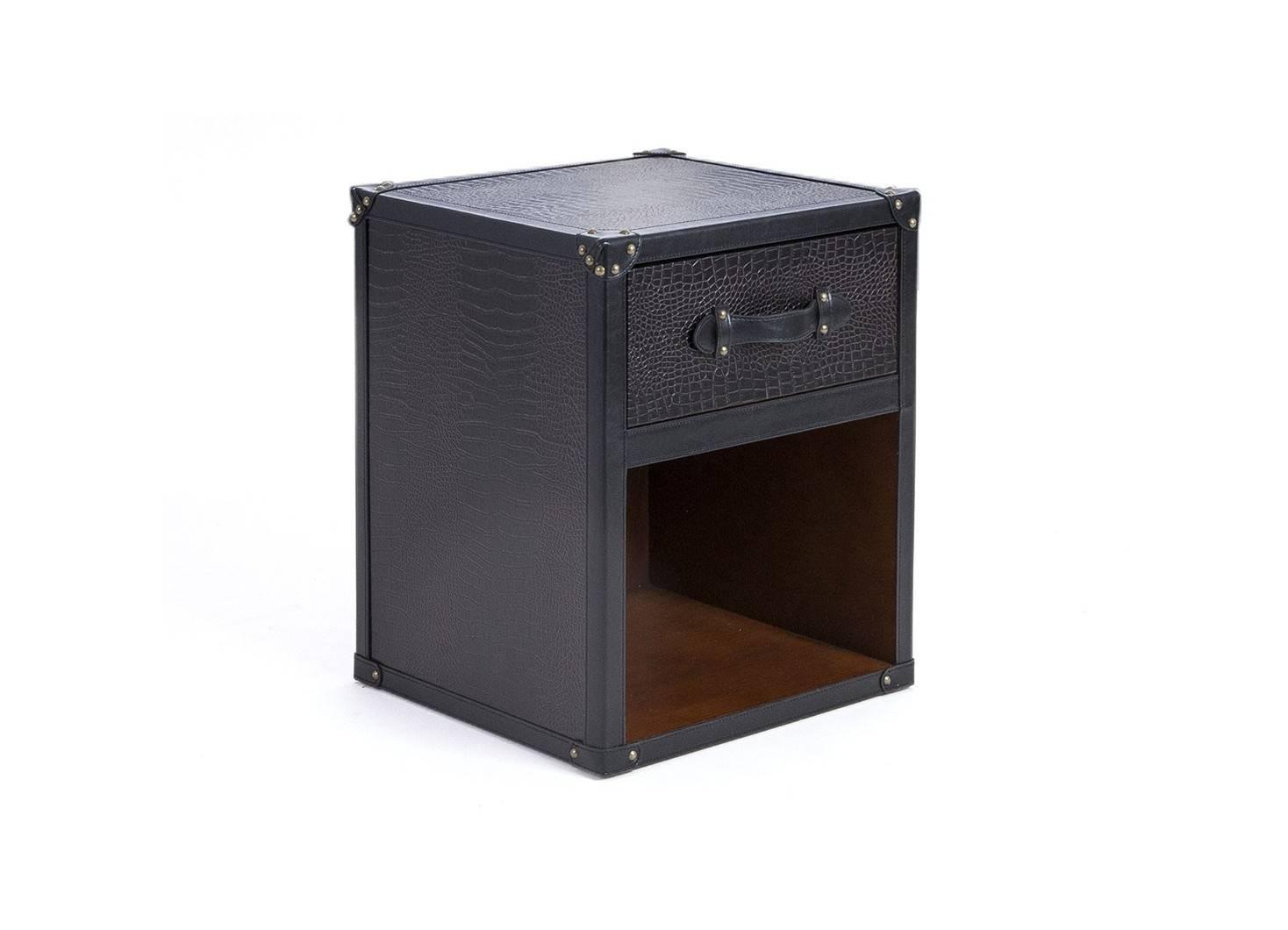Table de chevet Cap Horn - 1 tiroir - Simili cuir croco marron fonce