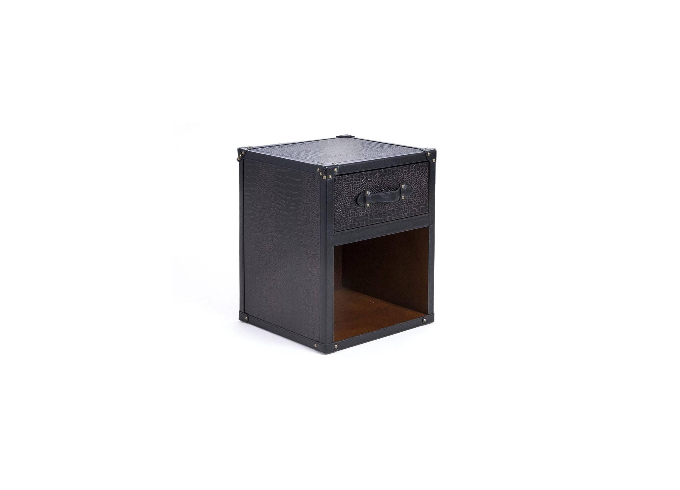 table chevet 1 tiroir et 1 niche en simili cuir croco marron fonc. Black Bedroom Furniture Sets. Home Design Ideas