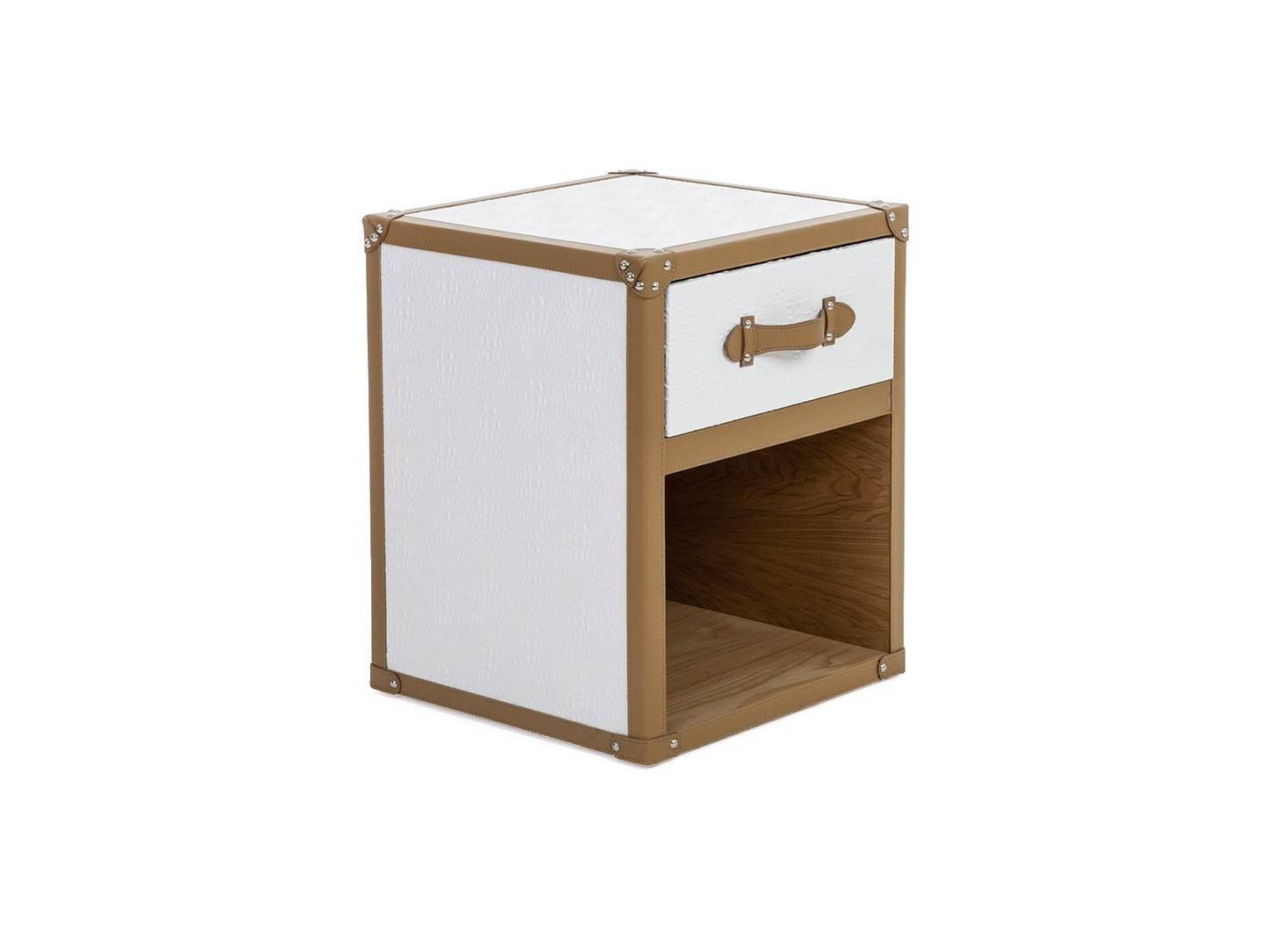 Table de chevet Cap Horn - 1 tiroir - Simili cuir croco blanc