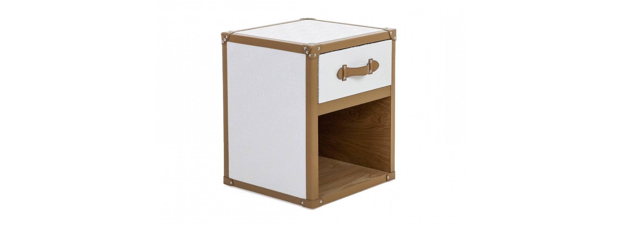 Chevet Cap Horn - 1 tiroir - Simili cuir croco blanc