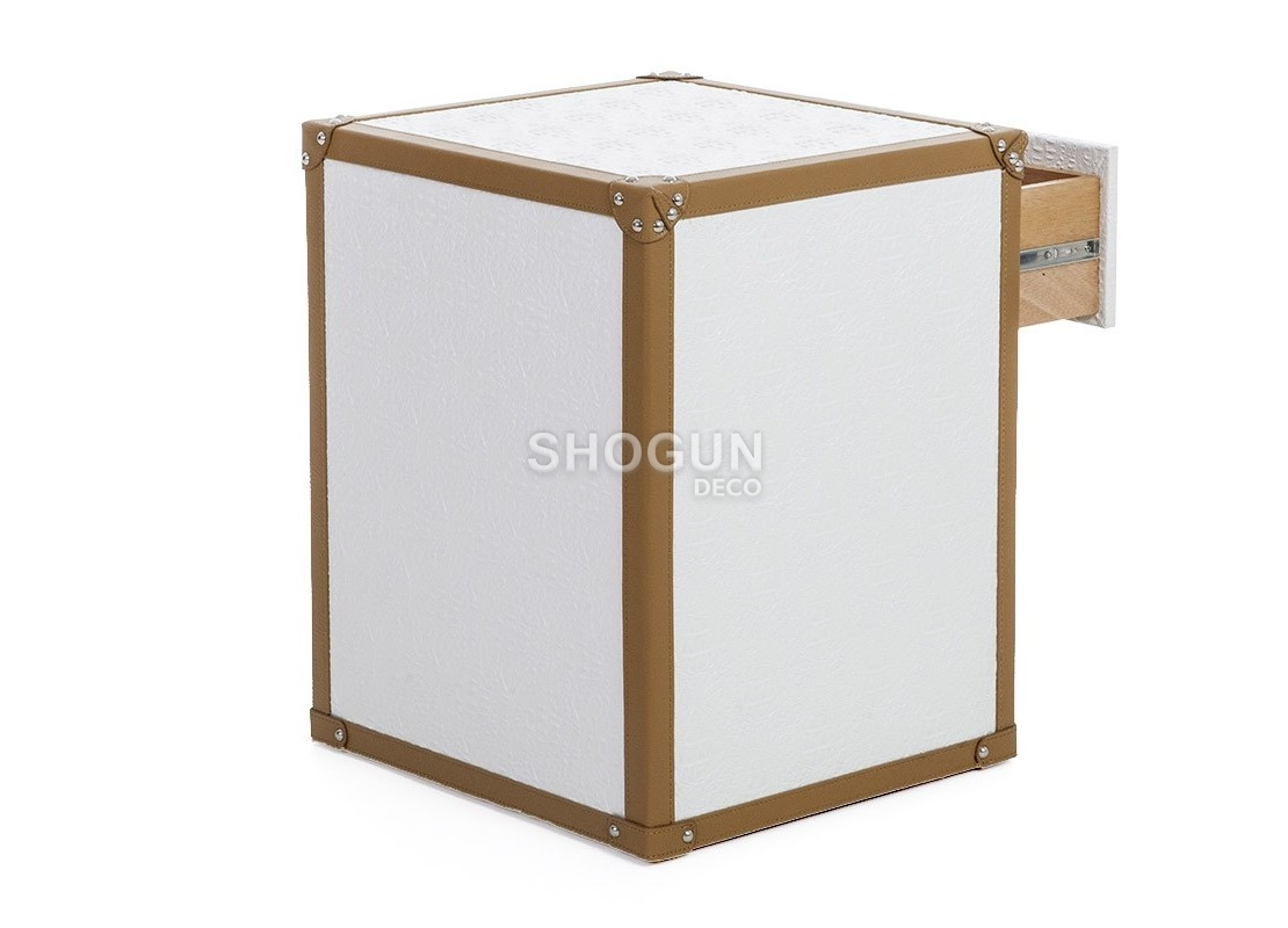 table chevet 1 tiroir et 1 niche en simili cuir croco blanc. Black Bedroom Furniture Sets. Home Design Ideas