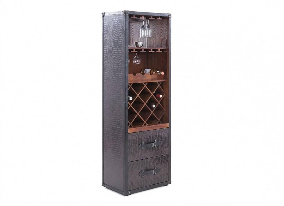 Malle bar / présentoir vins et liqueurs Cap Horn simili cuir croco marron foncé