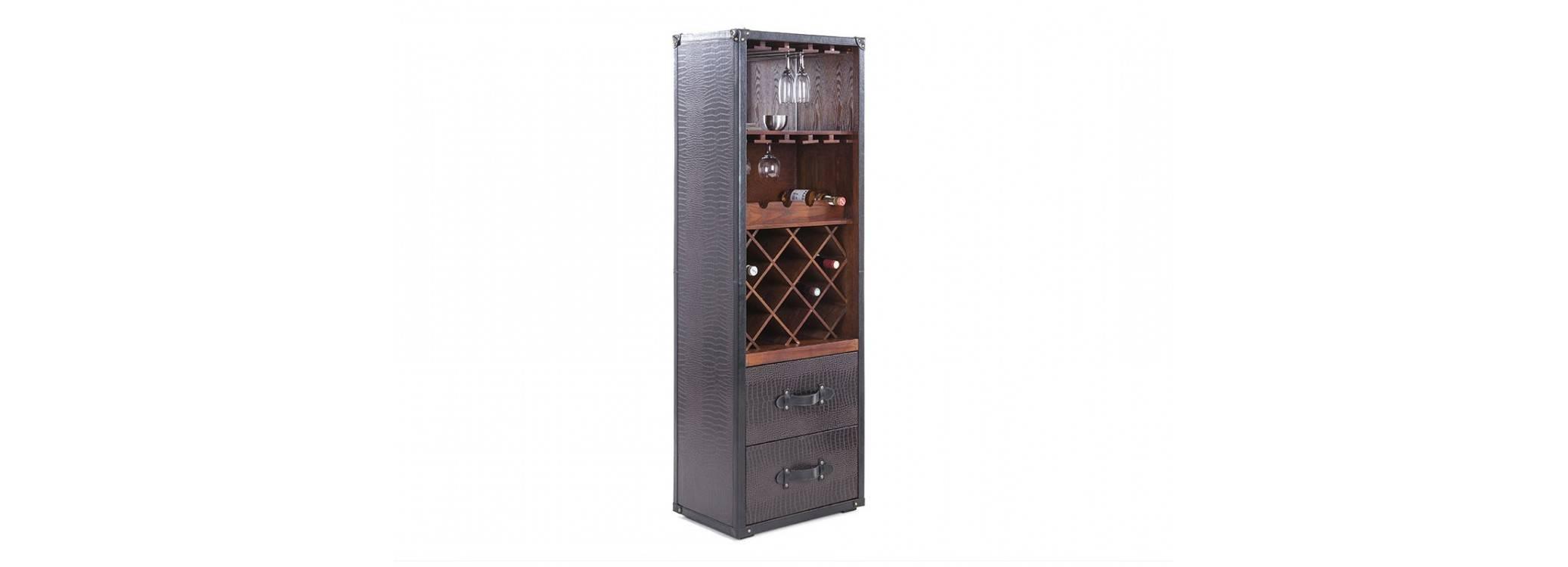 Malle bar / Présentoir à vins et liqueurs Cap Horn - Simili cuir croco marron