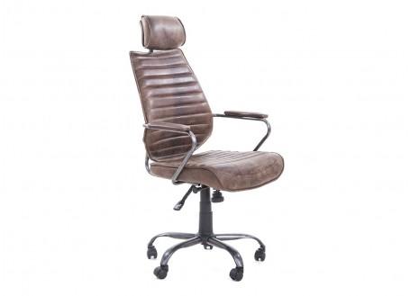 Fauteuil de bureau Hoover pivotant - Cuir marron et métal