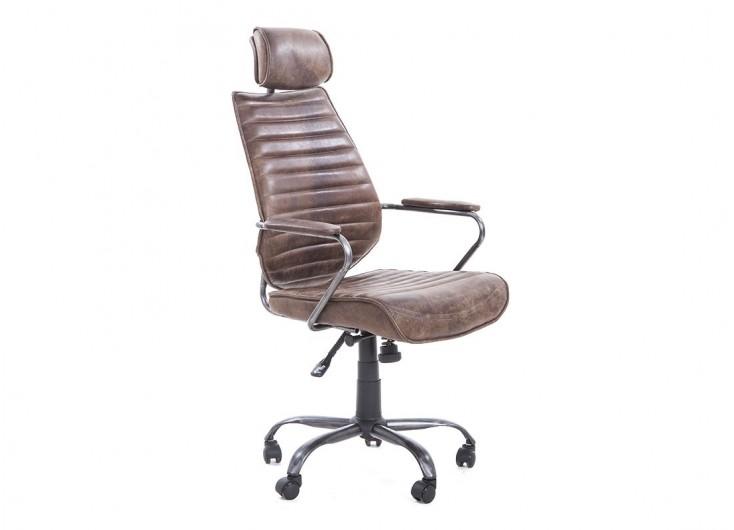 Fauteuil de bureau cuir métal marron - H114 cm