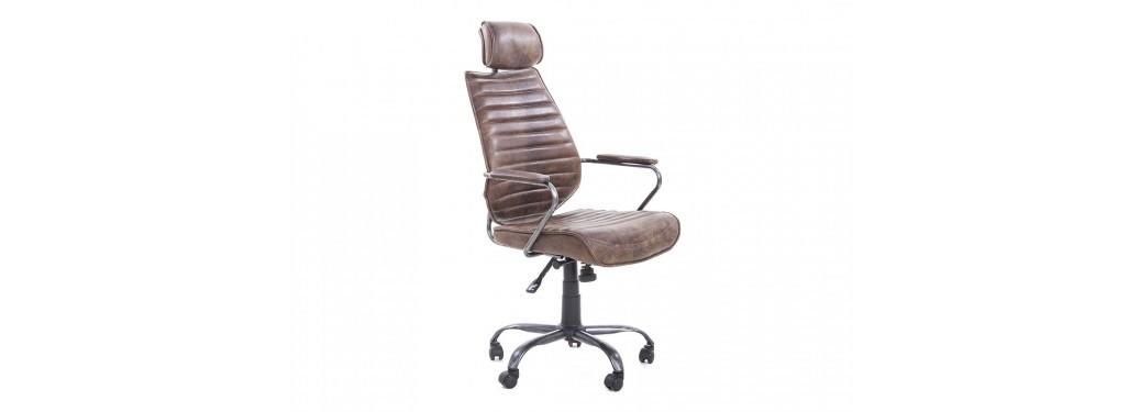Fauteuil de bureau cuir métal marron - L65 cm
