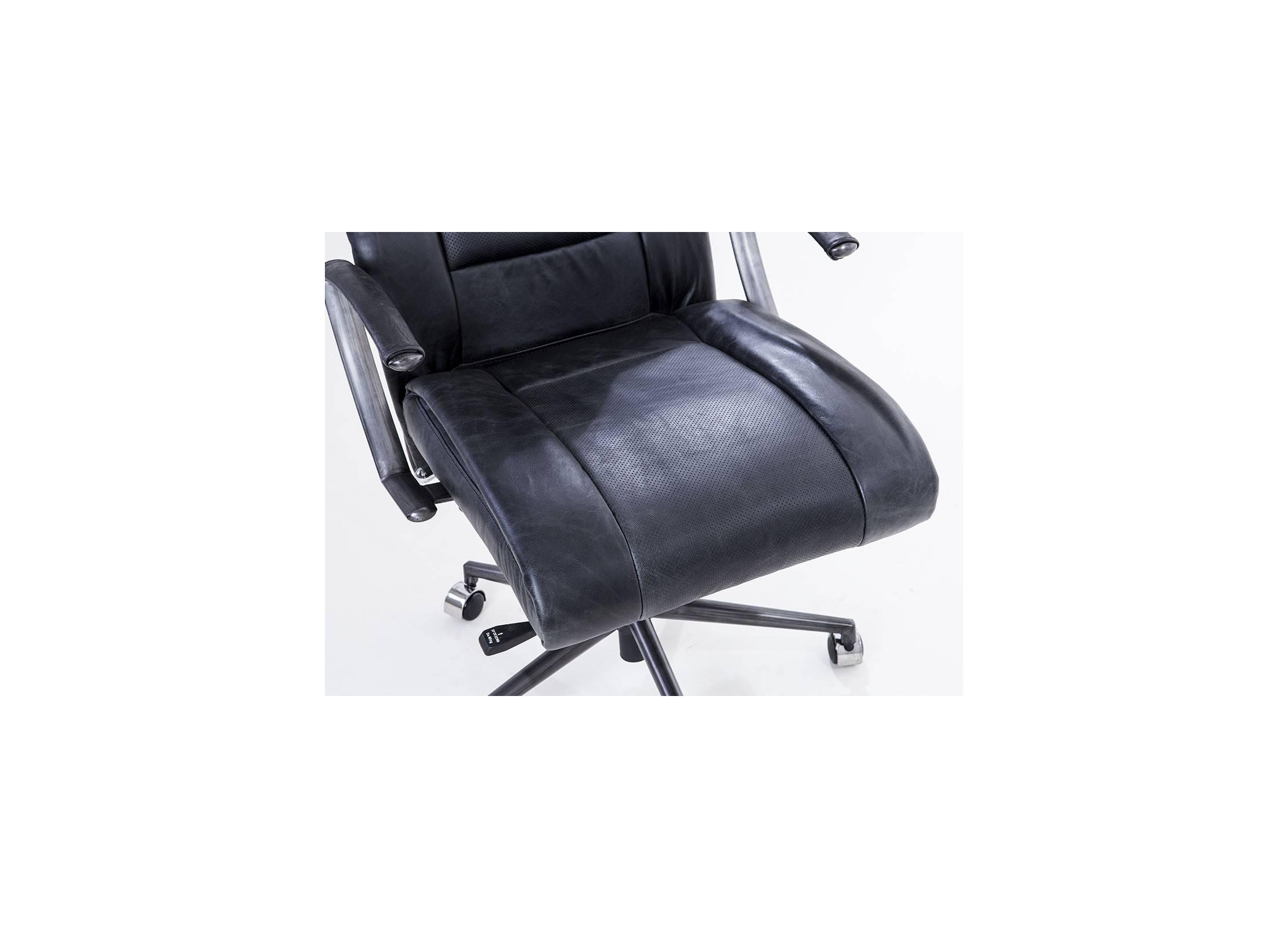 fauteuil de bureau style vintage en cuir noir et m tal avec r glages. Black Bedroom Furniture Sets. Home Design Ideas