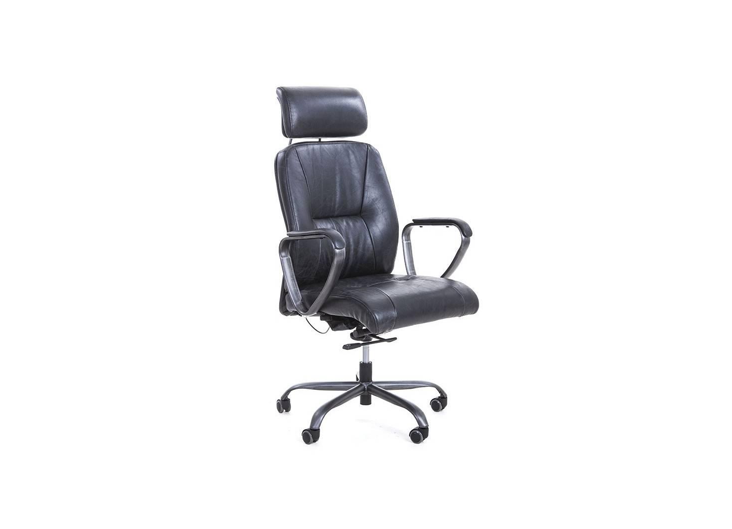 Fauteuil de bureau en cuir noir vintage et métal noir clair - L65 cm