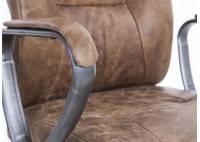 Fauteuil de bureau en cuir marron vintage, imprimé US et métal noir clair - L65 cm