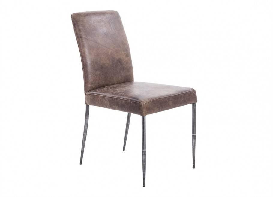 Chaise en cuir marron vintage et métal noir - L47 cm