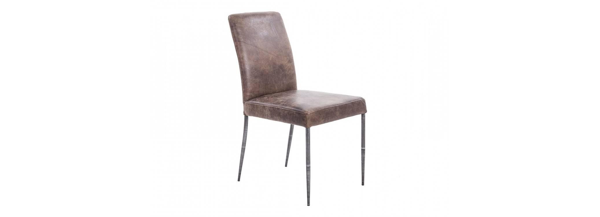 Chaise en cuir marron vintage et métal noir