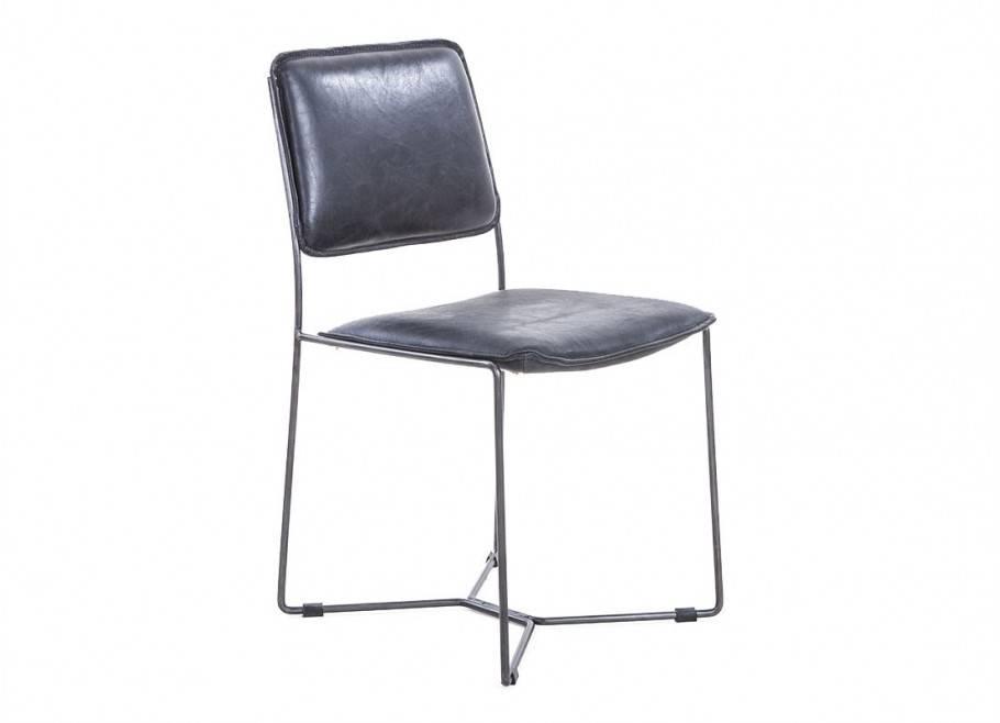 Chaise de bureau en cuir noir vintage et métal noir - L44 cm