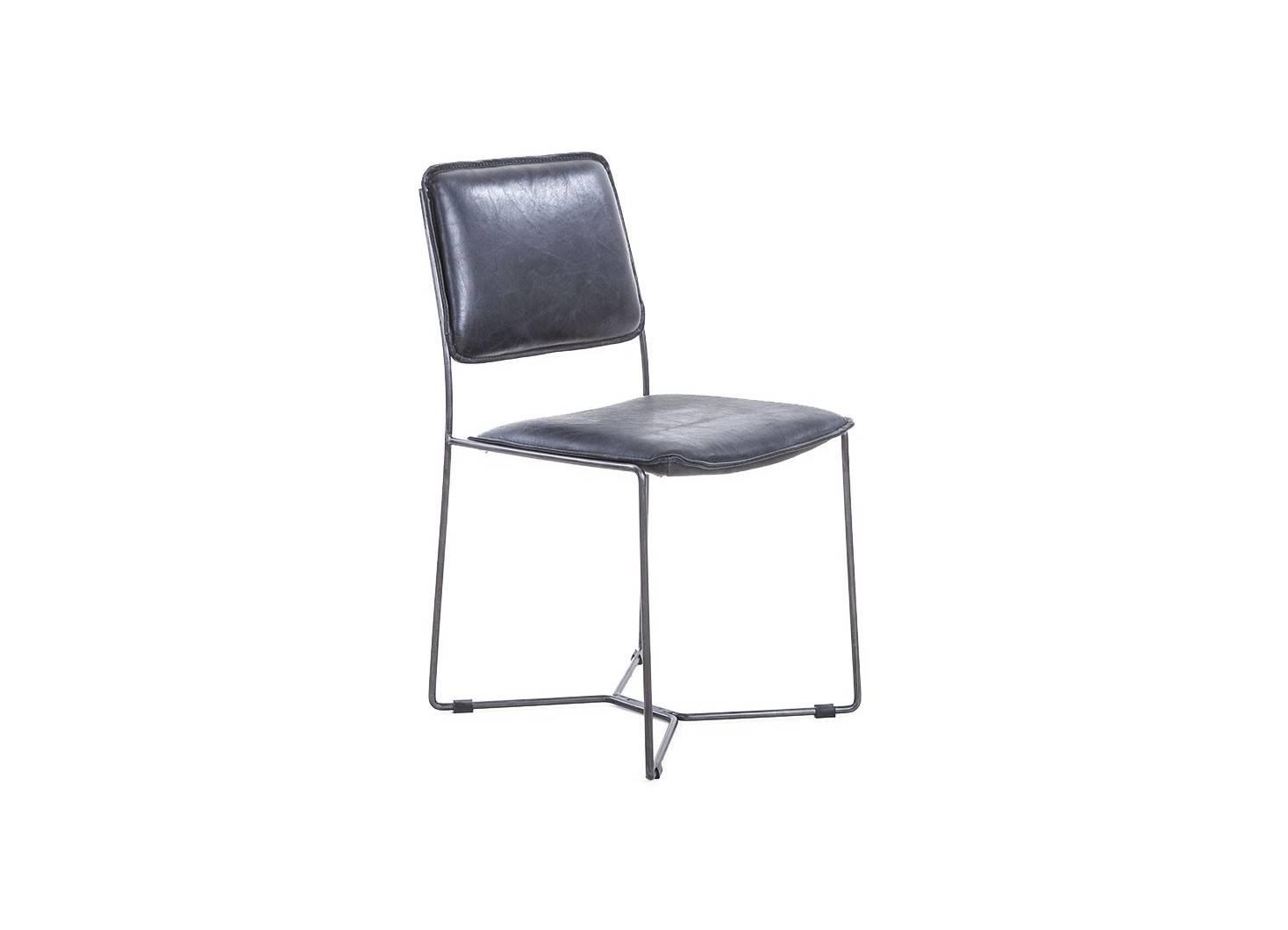 Chaise de salle à manger en cuir vintage noir et metal noir.