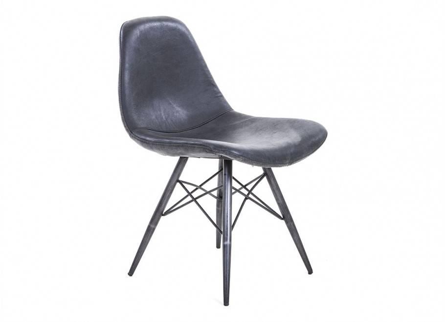 Chaise en cuir noir vintage - H82 cm