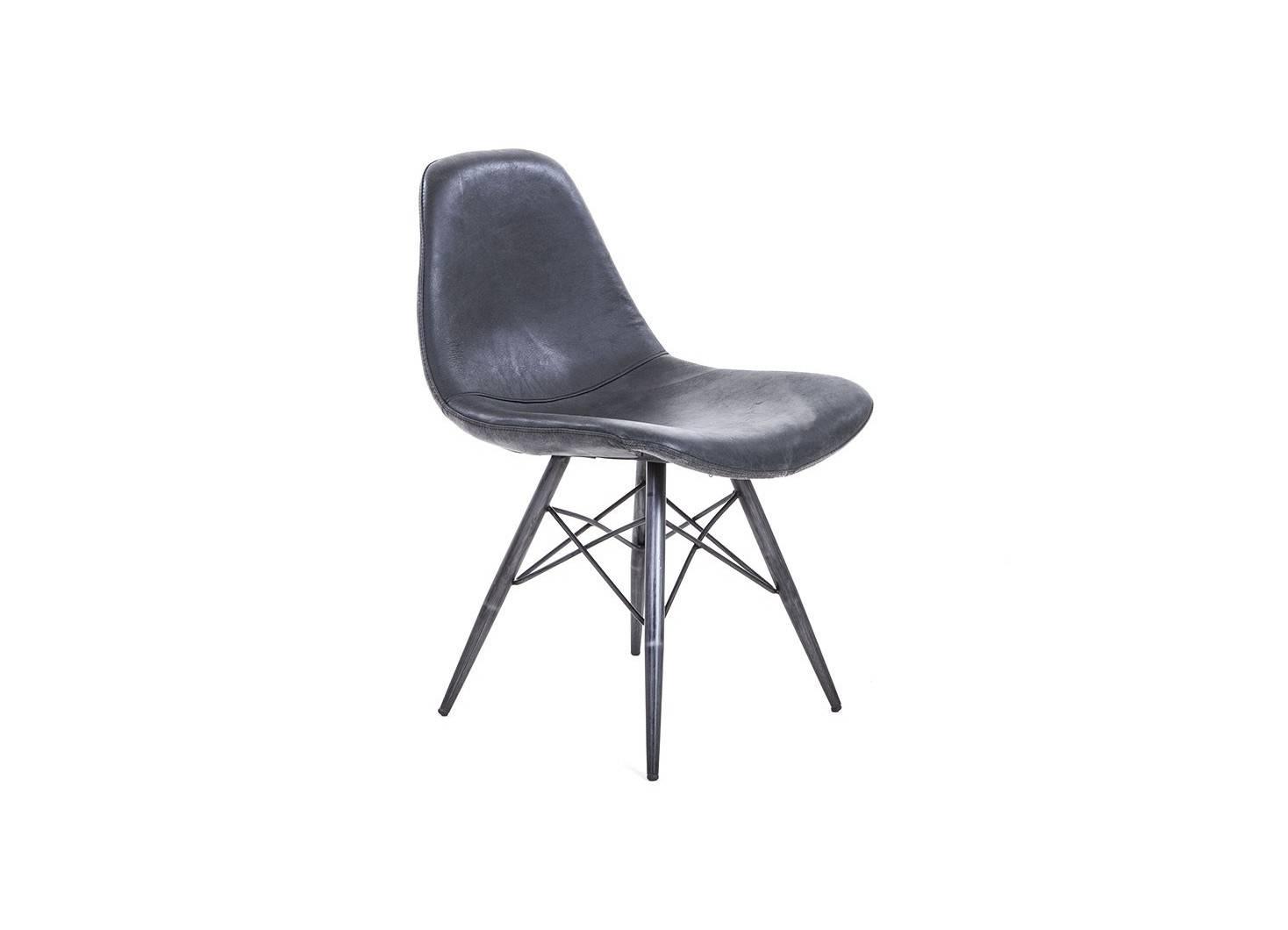 chaise en cuir noir vintage h82 cm - Chaise Scandinave Cuir