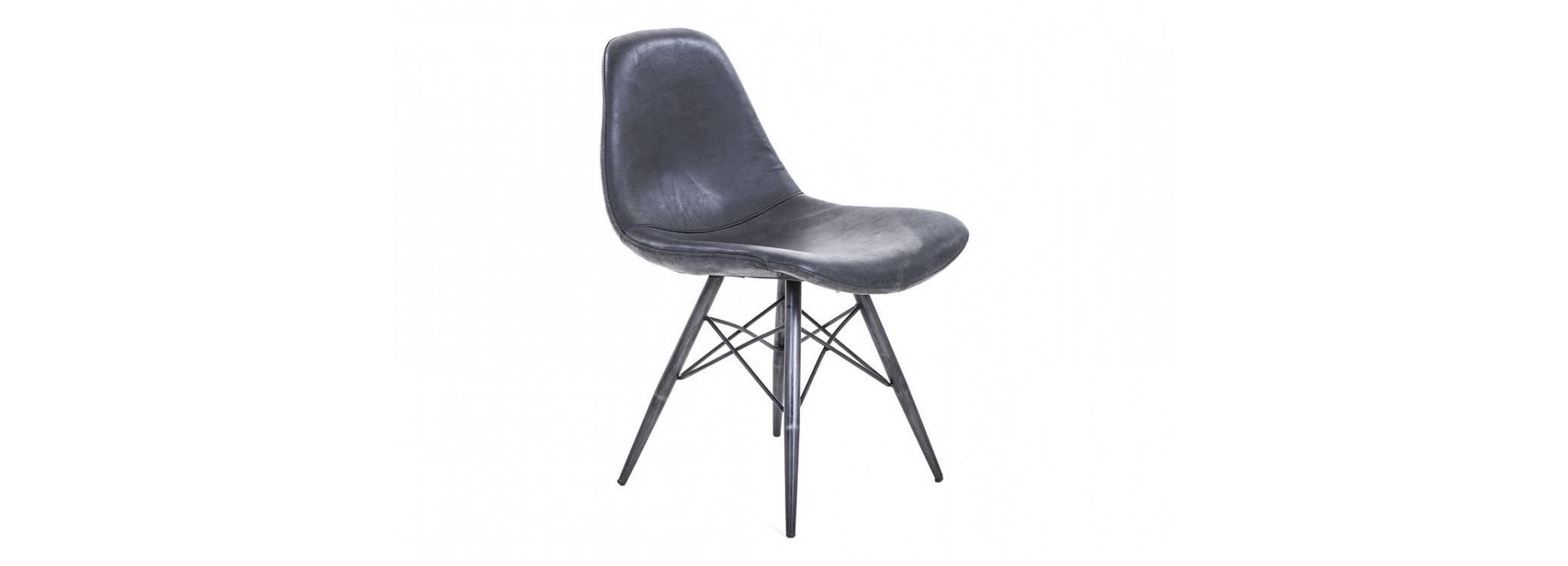 Chaise en cuir noir vintage - L49 cm