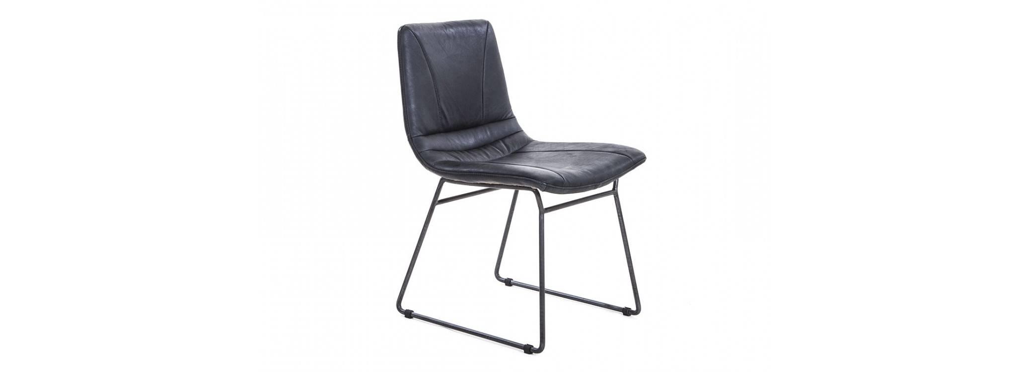 Chaise Sullivan - Cuir noir et métal