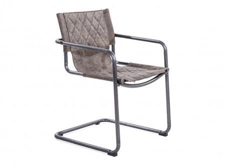 Chaise cuir marron vintage H83 cm
