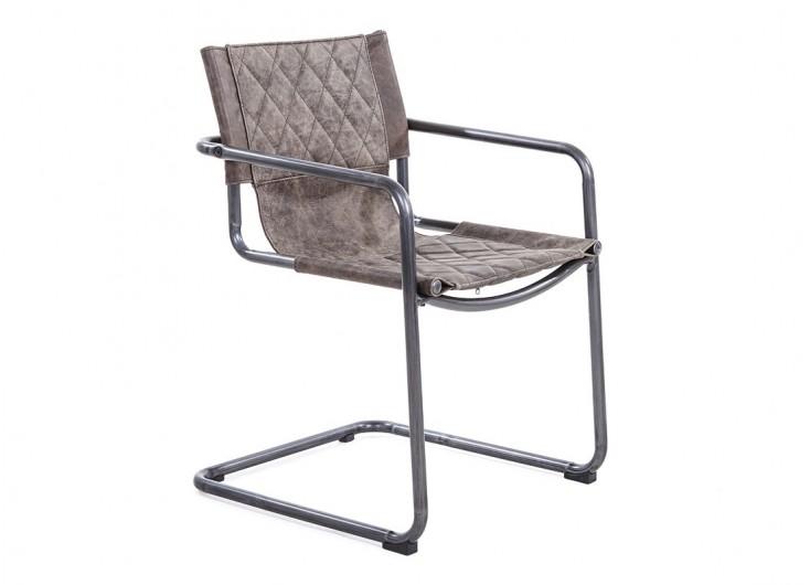 Chaise Avec Assises Et Accoudoirs En Cuir Marron Style Vintage Et Métal