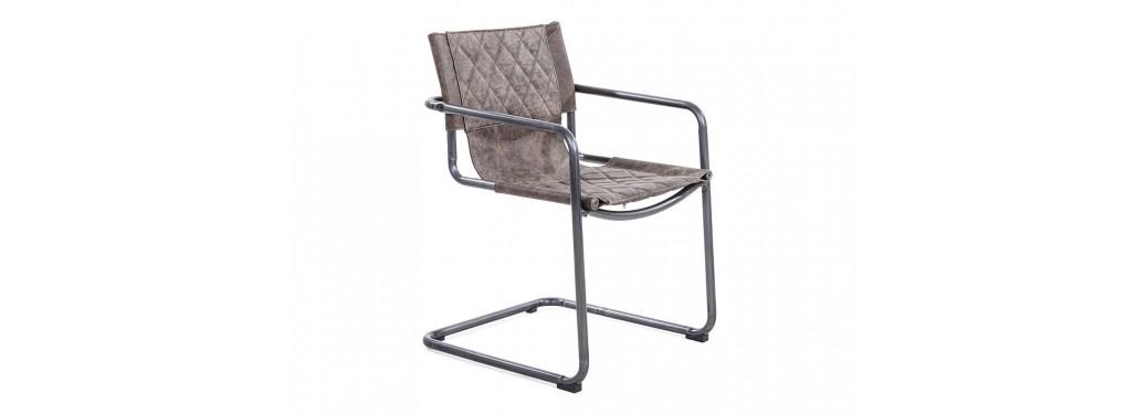 Chaise Dexter - Cuir marron et métal noir