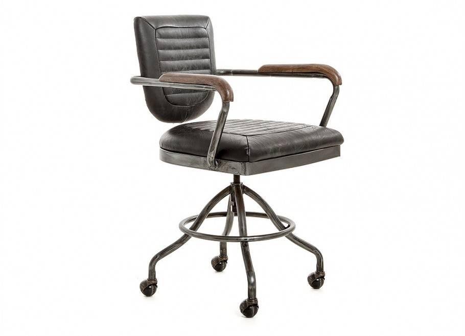 Fauteuil de bureau cuir noir vintage - H84 cm