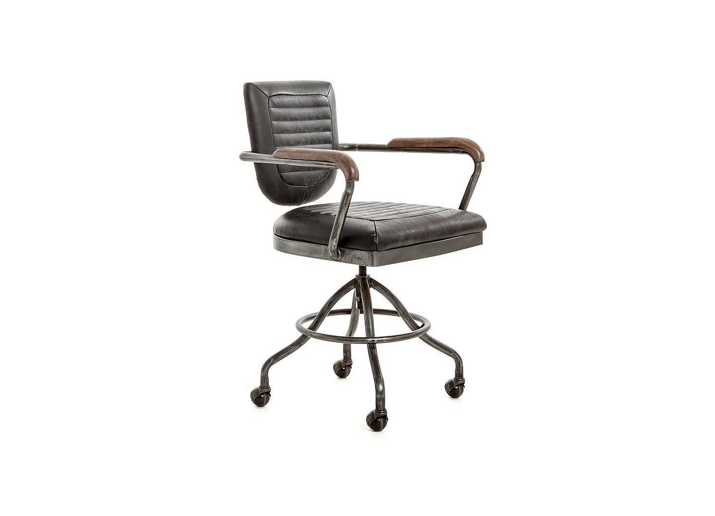 Fauteuil de bureau en cuir noir style vintage et métal sur roulettes