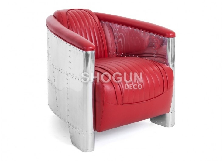 Red leather aviator armchair DC3