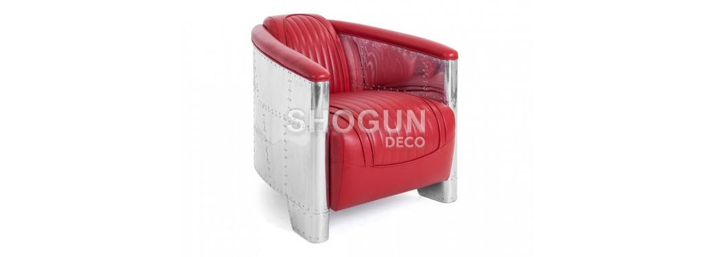 Fauteuil club DC3 - Cuir rouge